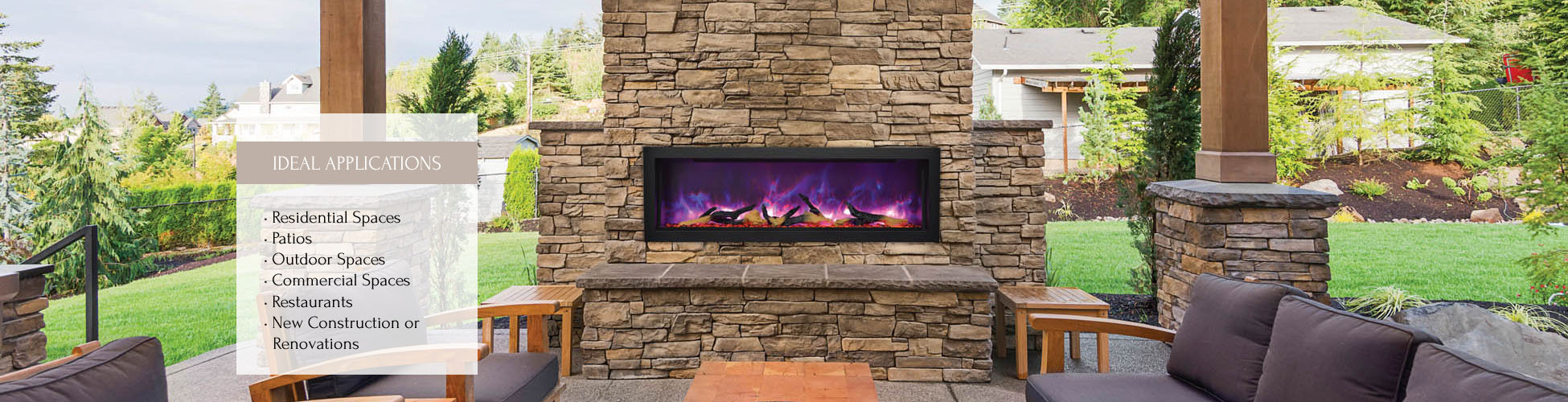 Sierra Flame indoor or outdoor elecltric fireplace
